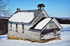Old School House Winter Royalty Free Stock Photography