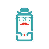 Old-school man icon vector illustration on smartphone screen. Royalty Free Stock Photography