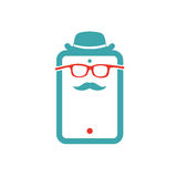 Old-school man icon vector illustration on tablet laptop. Stock Photography