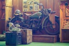 Old school motorcycle. An old school motorcycle from an exposition Stock Photo