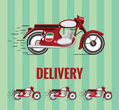 Old school motorcycle 1960 for food delivery. Vector resizable drawing of a old-timer mororcycle on green background. 4 different versions for different cuisines vector illustration