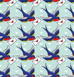 Old school pattern with birds vector illustration