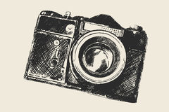 Old school photography. Retro camera sketch (hand drawing by me Stock Photos