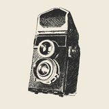 Old school photography. Retro camera sketch (hand drawing by me Stock Images