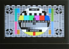 Colourful swedish test card on a modern television royalty free stock photo