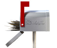 Old School Retro Metal Mailbox Full Stock Photo