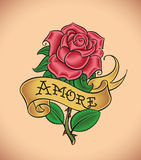 Old-school rose - Amore. Old-school styled tattoo of a red rose and a banner. Editable vector illustration Stock Photos