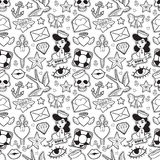 Old school seamless pattern in rockabilly style. Stock Photography
