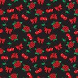 Old school seamless pattern in rockabilly style. stock illustration