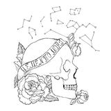 Old school skull tattoo. Great for print and your Stock Image