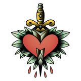 Old school style tattoo dagger through a heart with green leaves in the background. Editable  vector illustration