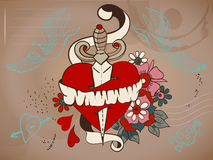 Old-school style tattoo heart with flowers and dagger, Valentine Royalty Free Stock Photos