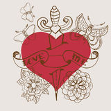 Old-school style tattoo heart with flowers and dagger, Valentine Stock Photography