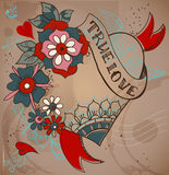 Old-school style tattoo heart with flowers, Valentine illustrati Stock Image