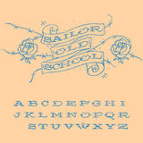 Old-school styled tattoo alphabet set Royalty Free Stock Image