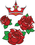 Old-school styled tattoo of three red roses with green leaves  Royalty Free Stock Image