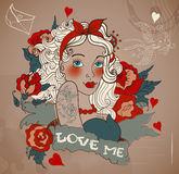 Old-school styled tattoo woman with flowers Royalty Free Stock Photo