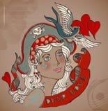 Old-school styled tattoo woman, Valentine illustration Stock Photo