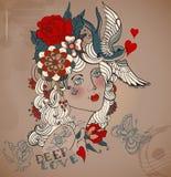Old-school styled tattoo woman, Valentine illustration Stock Image