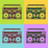Old-school tape recorders. In psychedelic style. Vector illustration Royalty Free Stock Photo