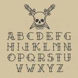 Old school tattoo alphabet Royalty Free Stock Photos