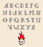 Old school tattoo alphabet Stock Image