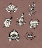 Old school tattoo drawings Royalty Free Stock Image