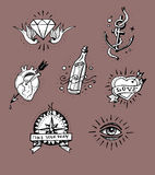 Old school tattoo drawings Royalty Free Stock Photography