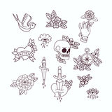 Old School Tattoo Elements. Set of Vintage Tattoos. Royalty Free Stock Photo