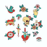 Old School Tattoo Elements. Set of Vintage Tattoos. Royalty Free Stock Image
