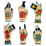 Old school tattoo hands stock photography