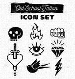 Old school tattoo. Icon set Royalty Free Stock Image