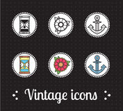 Old school tattoo icons Royalty Free Stock Images