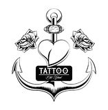 Tattoo studio design in black and white. Old school tattoo marine anchor drawing design vector illustration graphic Vector Illustration