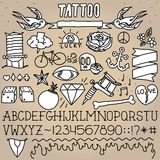 Old school tattoo objects pack Royalty Free Stock Images