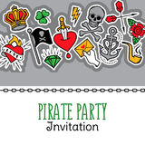 Old school tattoo and pirate life composition. Vector illustration for pirate party invitation and other messages. Royalty Free Stock Photo