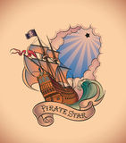 Old-school tattoo - Pirate Star Stock Image