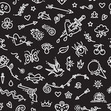 Old School Tattoo Seamless Pattern on Dark Stock Photo