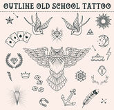 Old school tattoo set. Cartoon  tattoo elements in funny style:anchor, owl, star, heart, diamonds, scull, swallow. Outline s Royalty Free Stock Image