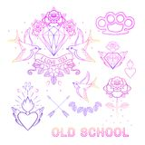 Old school tattoo set. Classic vector tattoo doodle elements: fl Stock Photos