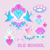 Old school tattoo set. Classic vector tattoo doodle elements: fl Royalty Free Stock Photos