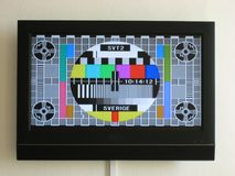 Old school test card on a modern television royalty free stock photo