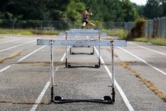 Old school track hurdle practice royalty free stock image