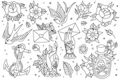 Free Old School Traditional Outlines Tattoo Set. Old School Traditional Tattoo Flash Outlines Icons Pack With Swallow Rose Royalty Free Stock Photo - 171867895