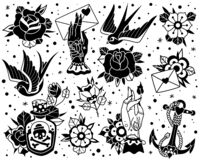 Free Old School Traditional Tattoo Black White Set Stock Images - 171867904