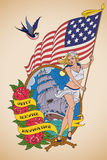 Old-school US Navy tattoo Royalty Free Stock Photography