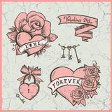 Old school vector graphic set with hearts, roses and  ribbons. Stock Photography