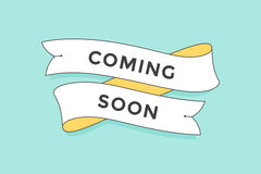 Old school vintage ribbon banner with text Coming Soon. Colorful ibbon in trendy style on turquoise background for stores, shopping malls, shops, markets. Hand