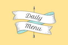 Old school vintage ribbon with text Daily menu stock illustration