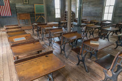 Old Schoolhouse Classroom. Interior classrom and desks of old one room schoolhouse Royalty Free Stock Image